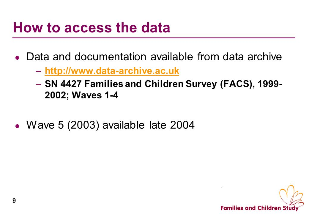 9 How to access the data Data and documentation available from data archive –http://www.data-archive.ac.ukhttp://www.data-archive.ac.uk –SN 4427 Famil