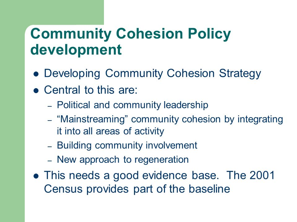 Community Cohesion Policy development Developing Community Cohesion Strategy Central to this are: – Political and community leadership – Mainstreaming community cohesion by integrating it into all areas of activity – Building community involvement – New approach to regeneration This needs a good evidence base.