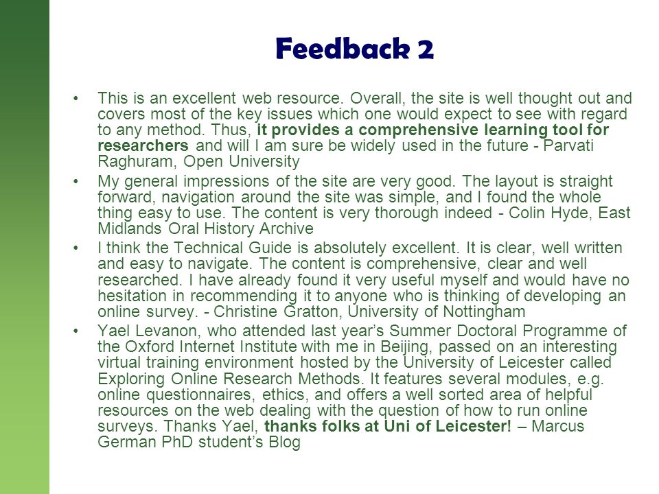 Feedback 2 This is an excellent web resource.