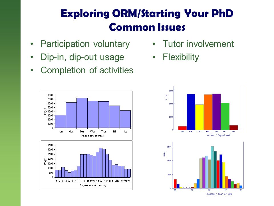 Exploring ORM/Starting Your PhD Common Issues Participation voluntary Dip-in, dip-out usage Completion of activities Tutor involvement Flexibility