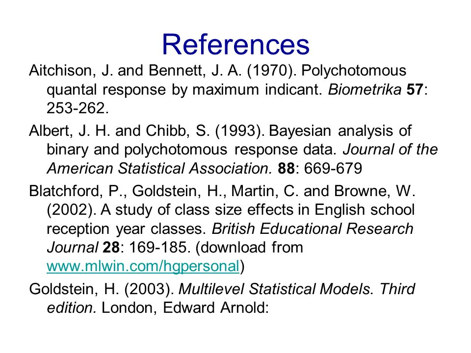 References Aitchison, J. and Bennett, J. A. (1970).