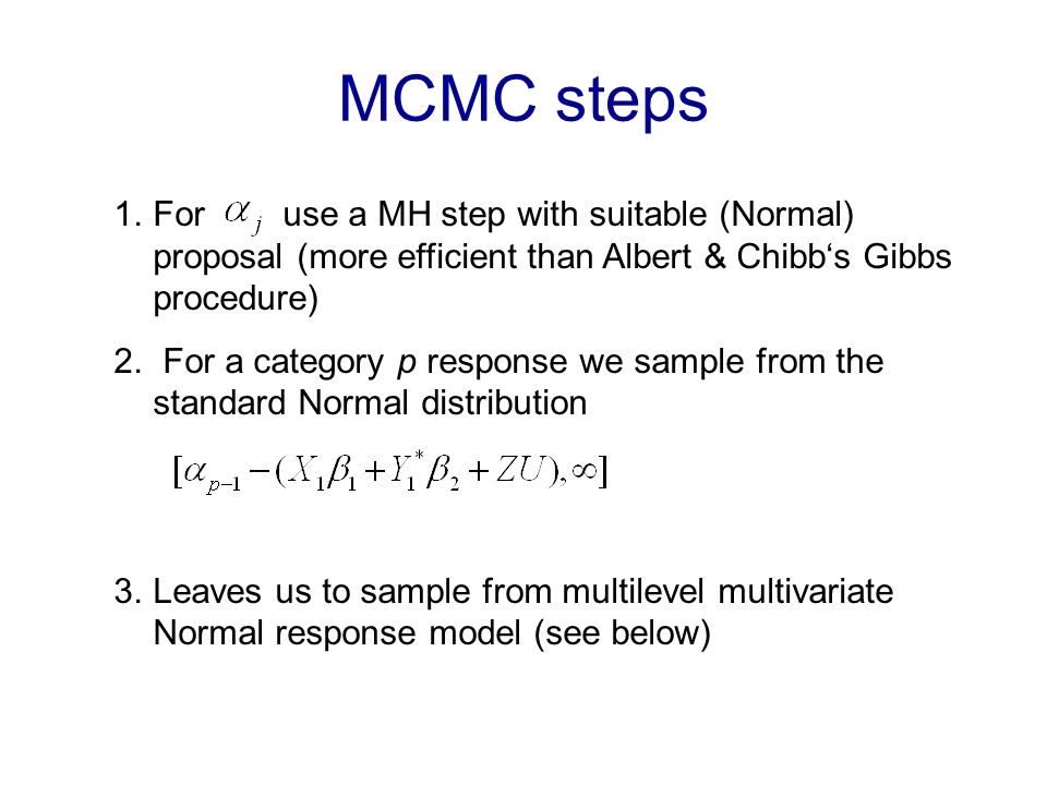 Multicategory Responses The multiple indicant model (Aitchison & Bennett, 1970): consider the multinomial vector with p categories, where the response, y is (0,1) in each category.