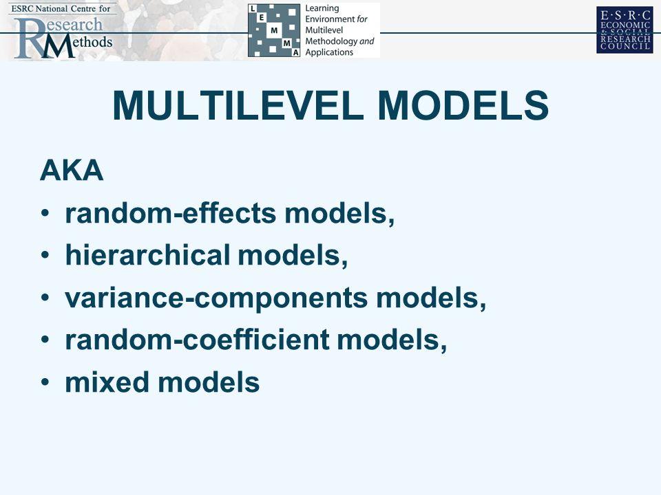 MULTILEVEL MODELS AKA random-effects models, hierarchical models, variance-components models, random-coefficient models, mixed models