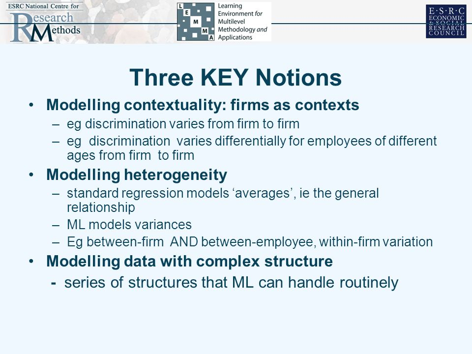 Three KEY Notions Modelling contextuality: firms as contexts –eg discrimination varies from firm to firm –eg discrimination varies differentially for