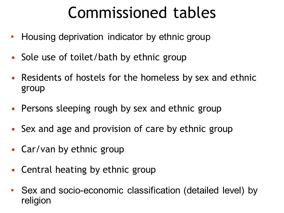 Commissioned tables Housing deprivation indicator by ethnic group Sole use of toilet/bath by ethnic group Residents of hostels for the homeless by sex and ethnic group Persons sleeping rough by sex and ethnic group Sex and age and provision of care by ethnic group Car/van by ethnic group Central heating by ethnic group Sex and socio-economic classification (detailed level) by religion