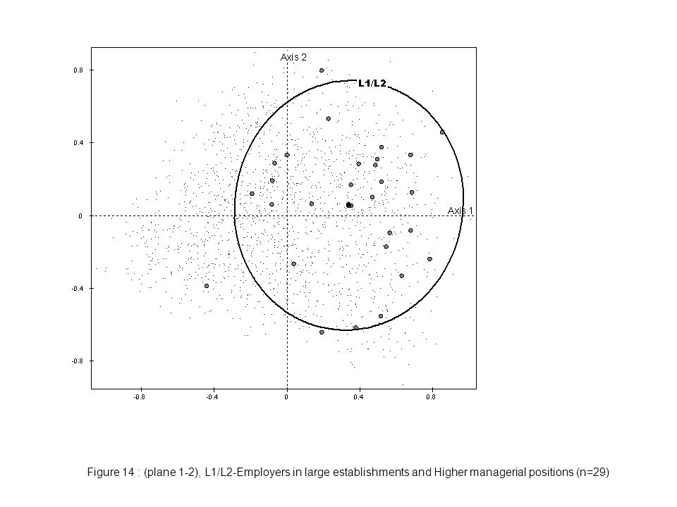 Figure 14 : (plane 1-2), L1/L2-Employers in large establishments and Higher managerial positions (n=29)