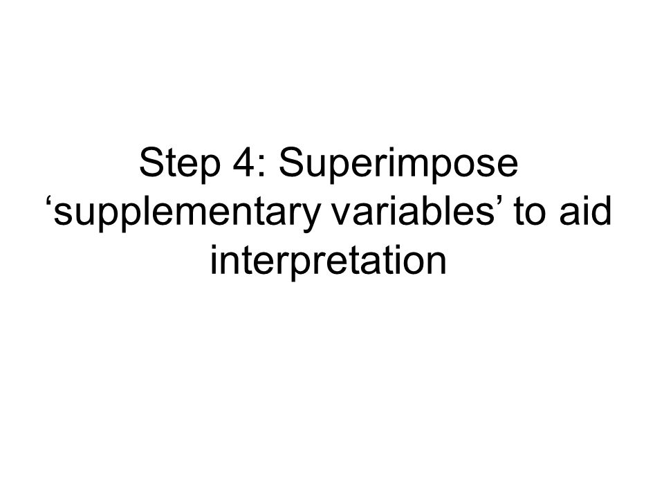 Step 4: Superimpose supplementary variables to aid interpretation