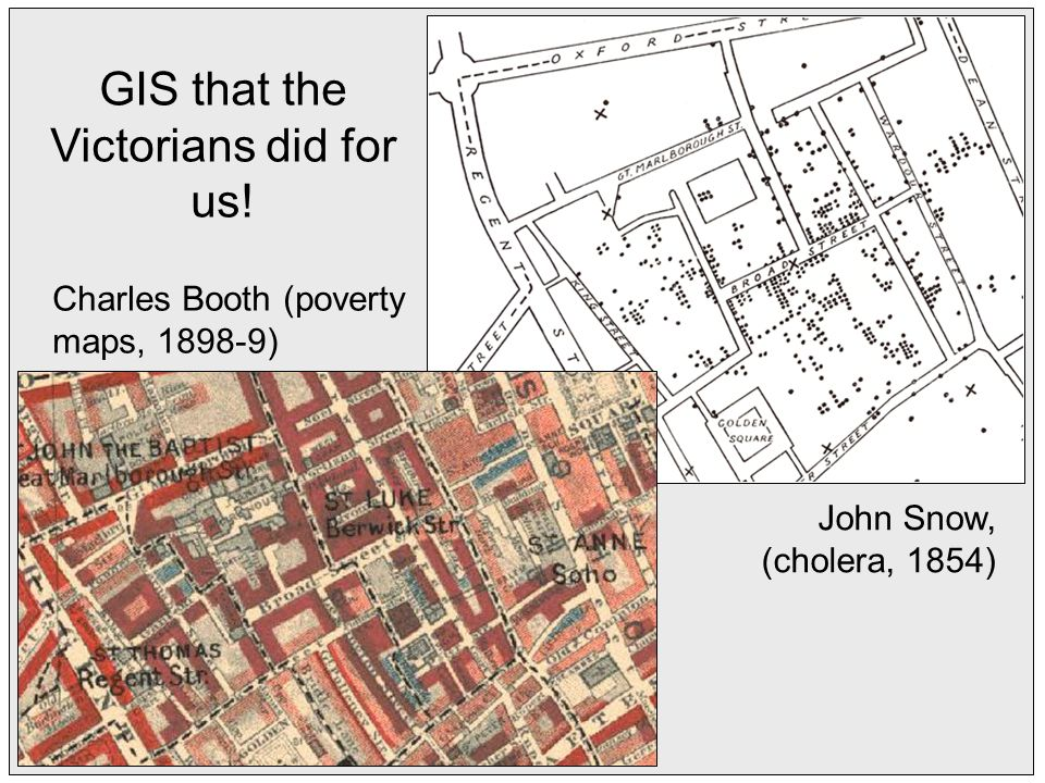 GIS that the Victorians did for us! Charles Booth (poverty maps, ) John Snow, (cholera, 1854)