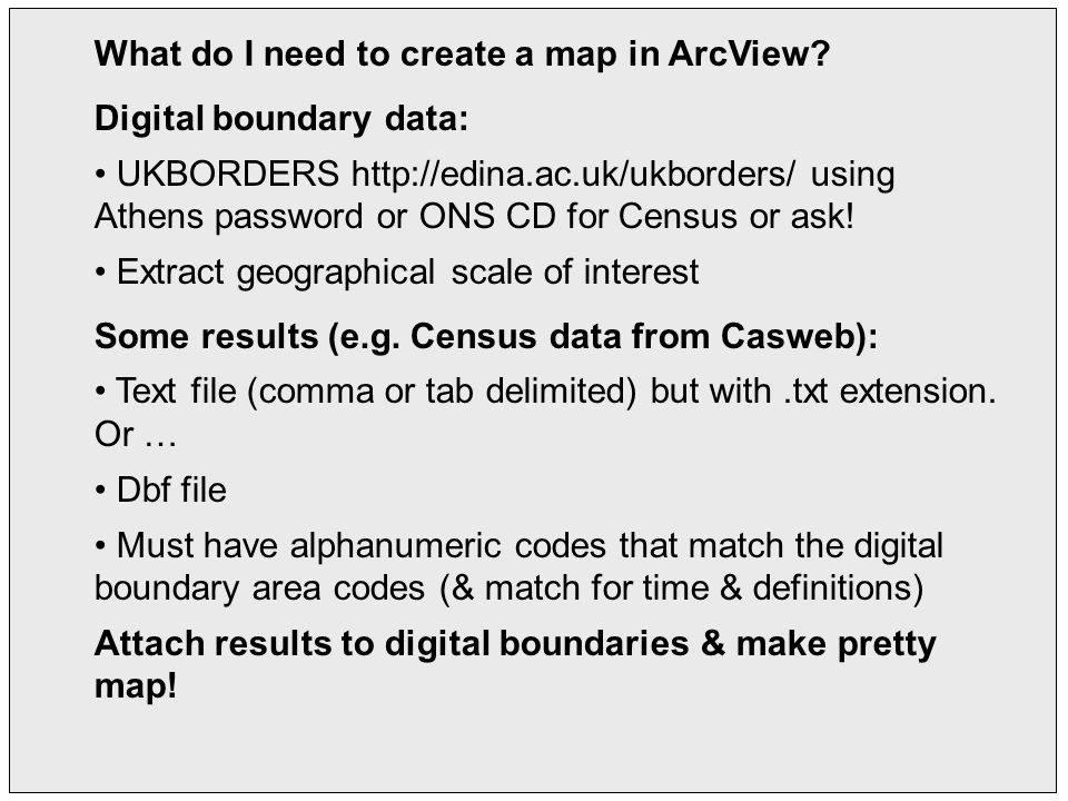 What do I need to create a map in ArcView.