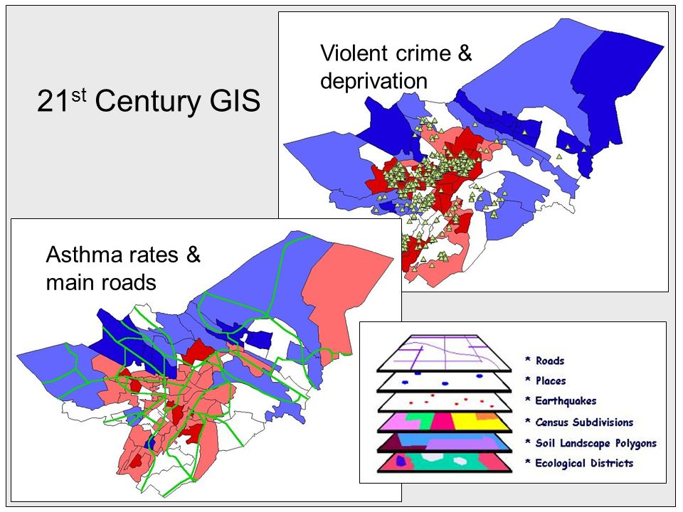Asthma rates & main roads Violent crime & deprivation 21 st Century GIS