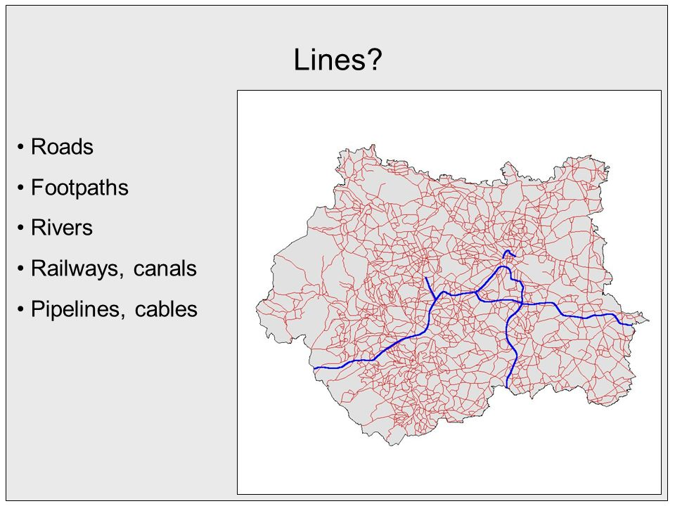 Lines Roads Footpaths Rivers Railways, canals Pipelines, cables