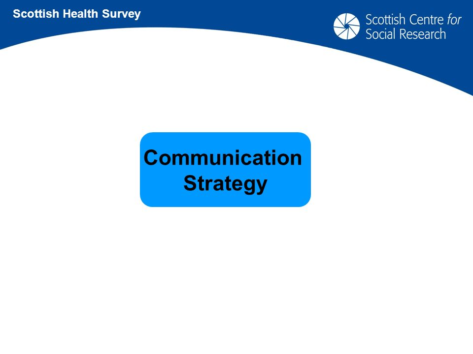Communication Strategy Scottish Health Survey