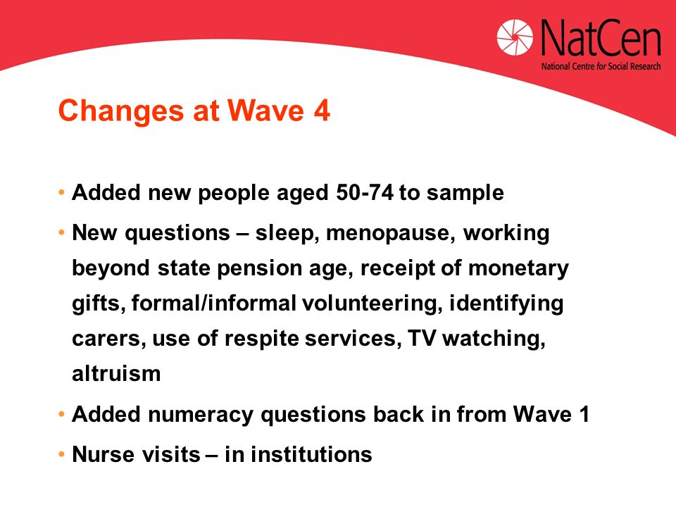 Changes at Wave 4 Added new people aged 50-74 to sample New questions – sleep, menopause, working beyond state pension age, receipt of monetary gifts,