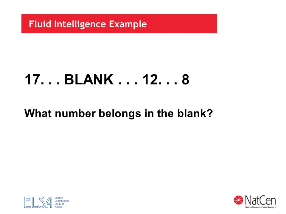 Fluid Intelligence Example 17... BLANK... 12... 8 What number belongs in the blank?