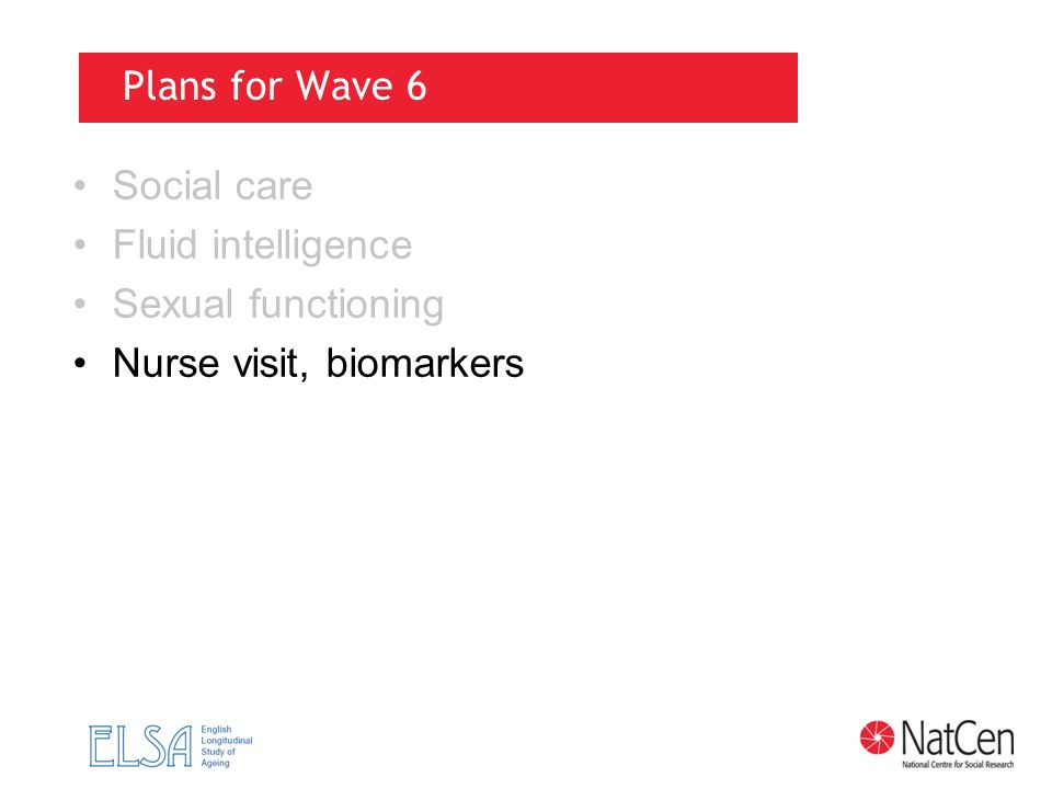 Plans for Wave 6 Social care Fluid intelligence Sexual functioning Nurse visit, biomarkers