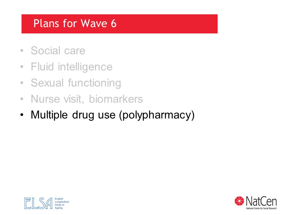 Plans for Wave 6 Social care Fluid intelligence Sexual functioning Nurse visit, biomarkers Multiple drug use (polypharmacy)