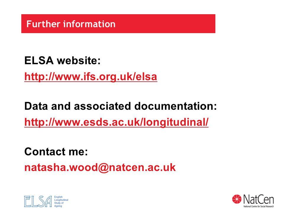 Further information ELSA website: http://www.ifs.org.uk/elsa Data and associated documentation: http://www.esds.ac.uk/longitudinal/ Contact me: natash