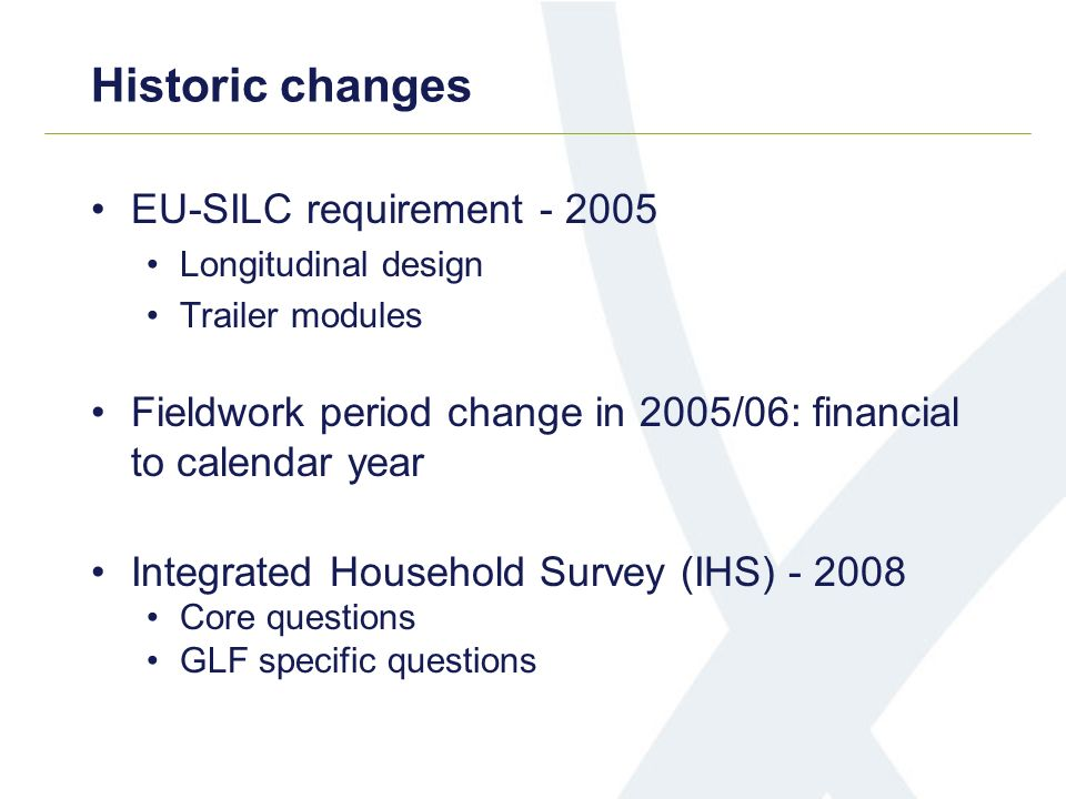 EU-SILC requirement Longitudinal design Trailer modules Fieldwork period change in 2005/06: financial to calendar year Integrated Household Survey (IHS) Core questions GLF specific questions Historic changes