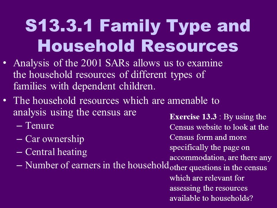 S13.3.1 Family Type and Household Resources Analysis of the 2001 SARs allows us to examine the household resources of different types of families with dependent children.