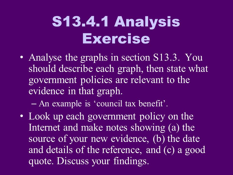 S Analysis Exercise Analyse the graphs in section S13.3.