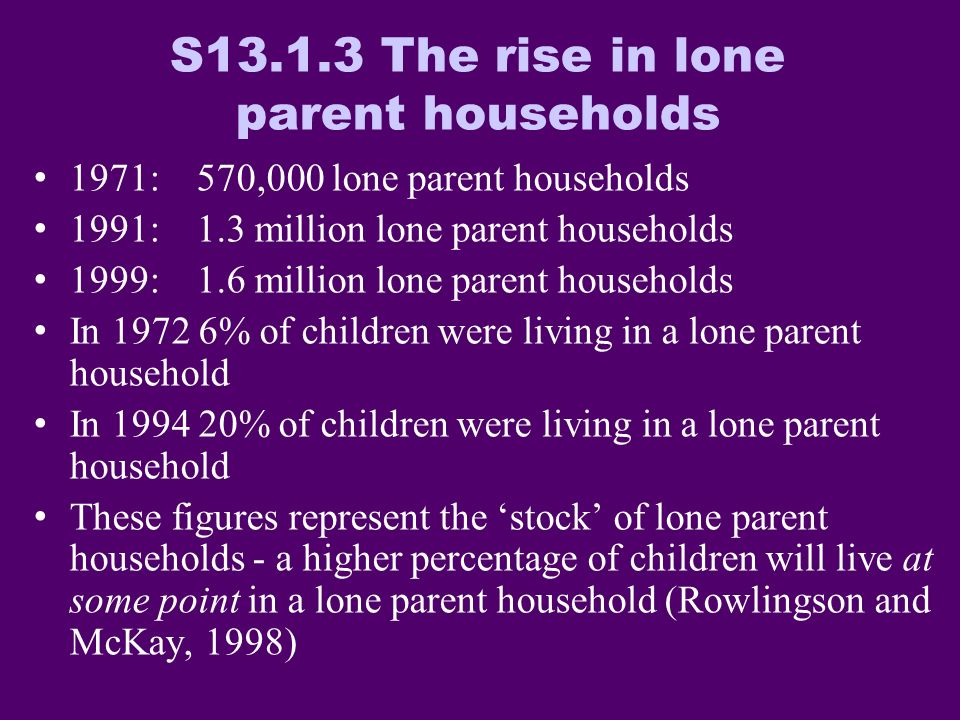 Within lone parents, one fifth of male lone parents have no car whereas almost half of female lone parents have no car in the household Only 5.7% of married parents and 15.7% of cohabiting parents have no car in the household Source: UK SARs 2001, individuals.