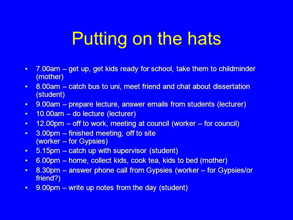 Putting on the hats 7.00am – get up, get kids ready for school, take them to childminder (mother) 8.00am – catch bus to uni, meet friend and chat about dissertation (student) 9.00am – prepare lecture, answer emails from students (lecturer) 10.00am – do lecture (lecturer) 12.00pm – off to work, meeting at council (worker – for council) 3.00pm – finished meeting, off to site (worker – for Gypsies) 5.15pm – catch up with supervisor (student) 6.00pm – home, collect kids, cook tea, kids to bed (mother) 8.30pm – answer phone call from Gypsies (worker – for Gypsies/or friend ) 9.00pm – write up notes from the day (student)