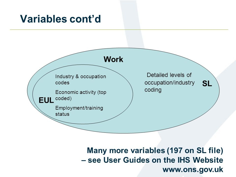 Variables contd Industry & occupation codes Economic activity (top coded) Employment/training status Detailed levels of occupation/industry coding Work Many more variables (197 on SL file) – see User Guides on the IHS Website www.ons.gov.uk EUL SL