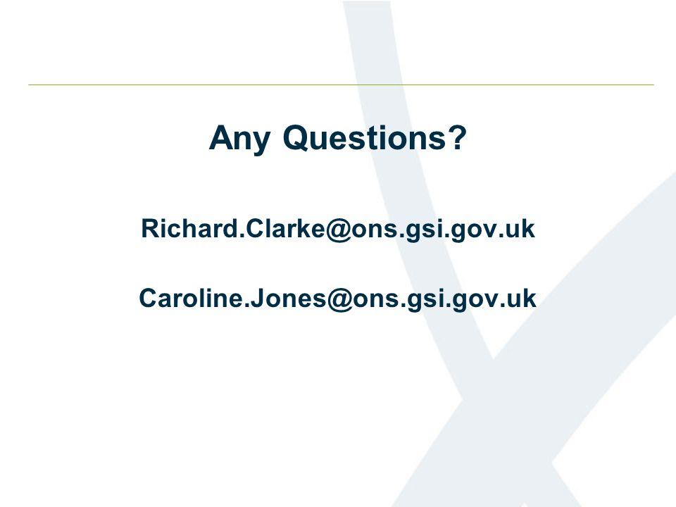 Any Questions? Richard.Clarke@ons.gsi.gov.uk Caroline.Jones@ons.gsi.gov.uk