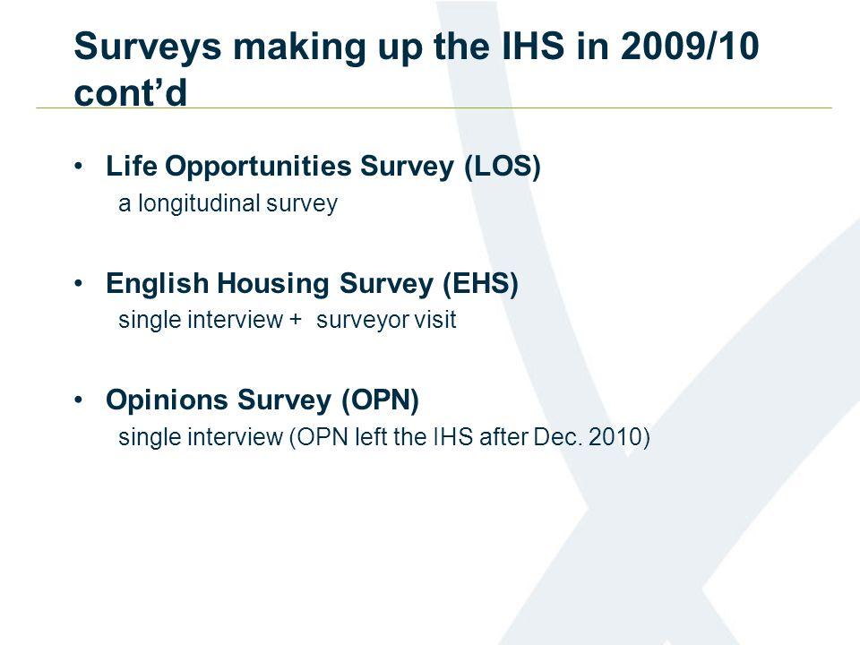 Life Opportunities Survey (LOS) a longitudinal survey English Housing Survey (EHS) single interview + surveyor visit Opinions Survey (OPN) single interview (OPN left the IHS after Dec.