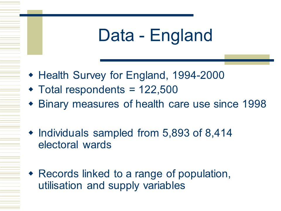 Data - England Health Survey for England, 1994-2000 Total respondents = 122,500 Binary measures of health care use since 1998 Individuals sampled from 5,893 of 8,414 electoral wards Records linked to a range of population, utilisation and supply variables
