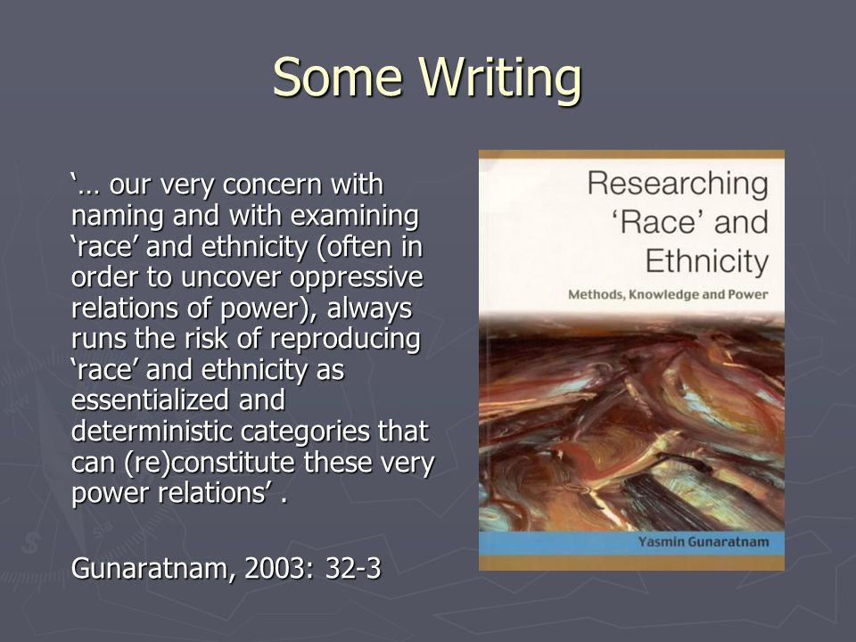 Ethnic Matching - Critique Need to move from commonality to connectivity Need to move from commonality to connectivity The impact of race and ethnicity on research interactions is not predictable The impact of race and ethnicity on research interactions is not predictable Cannot interpret accounts in relation to one category of difference Cannot interpret accounts in relation to one category of difference Even when there is a shared language social & biographical difference can affect meaning Even when there is a shared language social & biographical difference can affect meaning