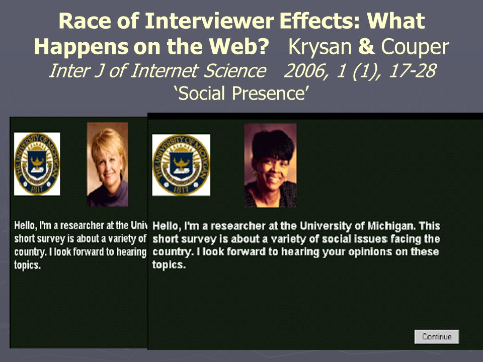 Race of Interviewer Effects: What Happens on the Web.