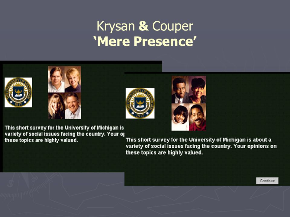 Krysan & Couper - Questions Do you feel you can trust most White people, some White people, or no White people.