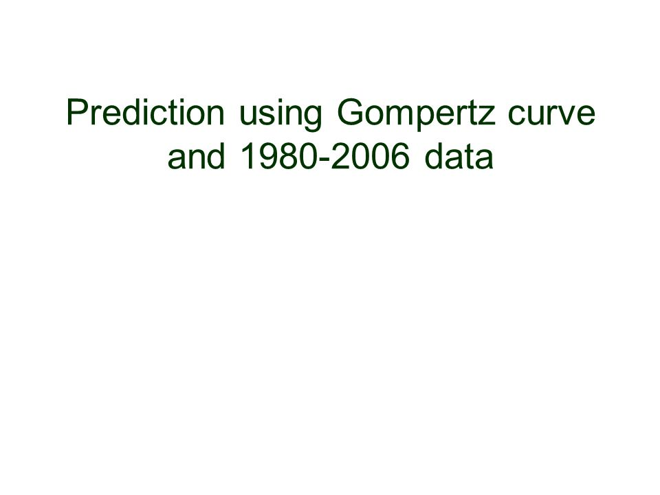 Prediction using Gompertz curve and 1980-2006 data