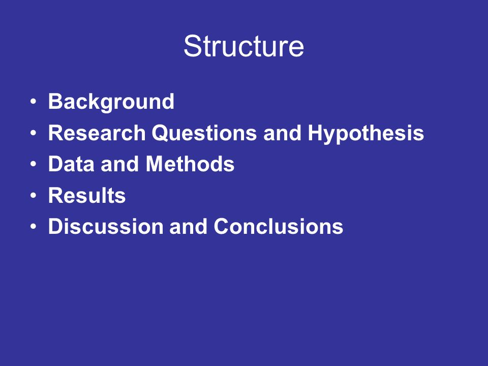 Structure Background Research Questions and Hypothesis Data and Methods Results Discussion and Conclusions