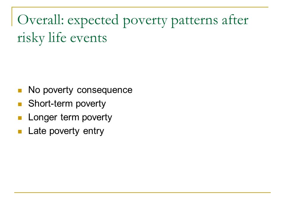 Overall: expected poverty patterns after risky life events No poverty consequence Short-term poverty Longer term poverty Late poverty entry