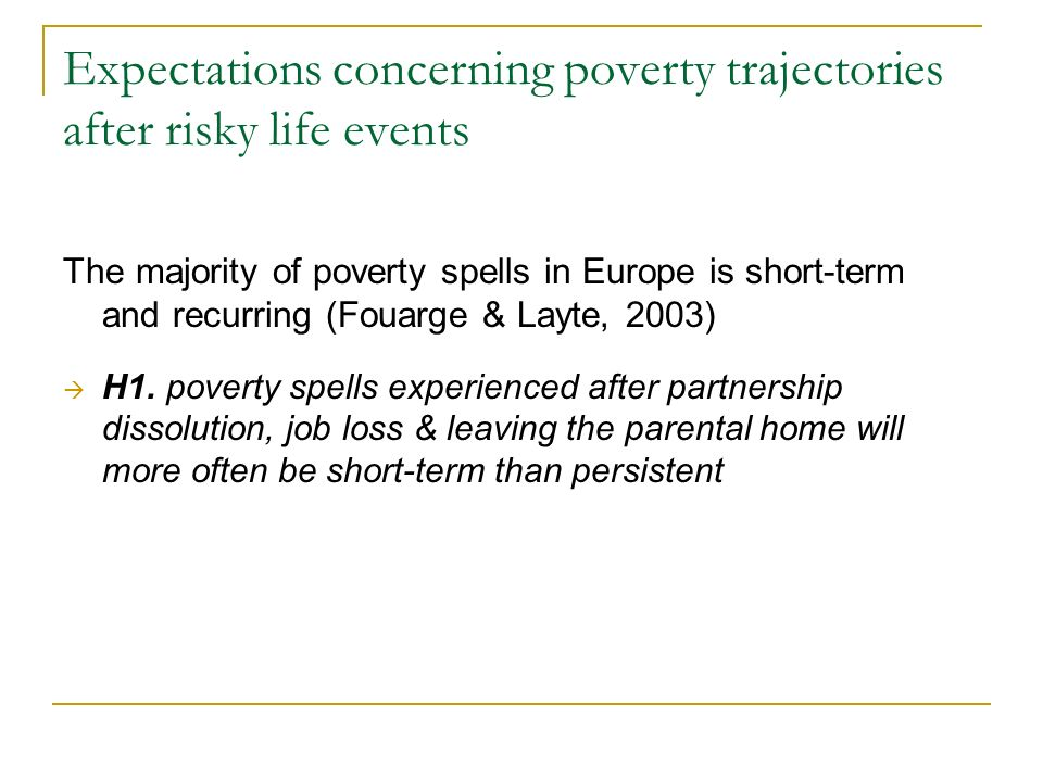 Expectations concerning poverty trajectories after risky life events The majority of poverty spells in Europe is short-term and recurring (Fouarge & Layte, 2003) H1.