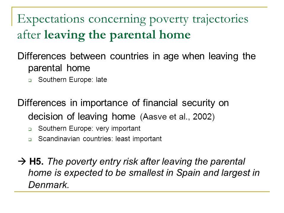 Expectations concerning poverty trajectories after leaving the parental home Differences between countries in age when leaving the parental home Southern Europe: late Differences in importance of financial security on decision of leaving home (Aasve et al., 2002) Southern Europe: very important Scandinavian countries: least important H5.