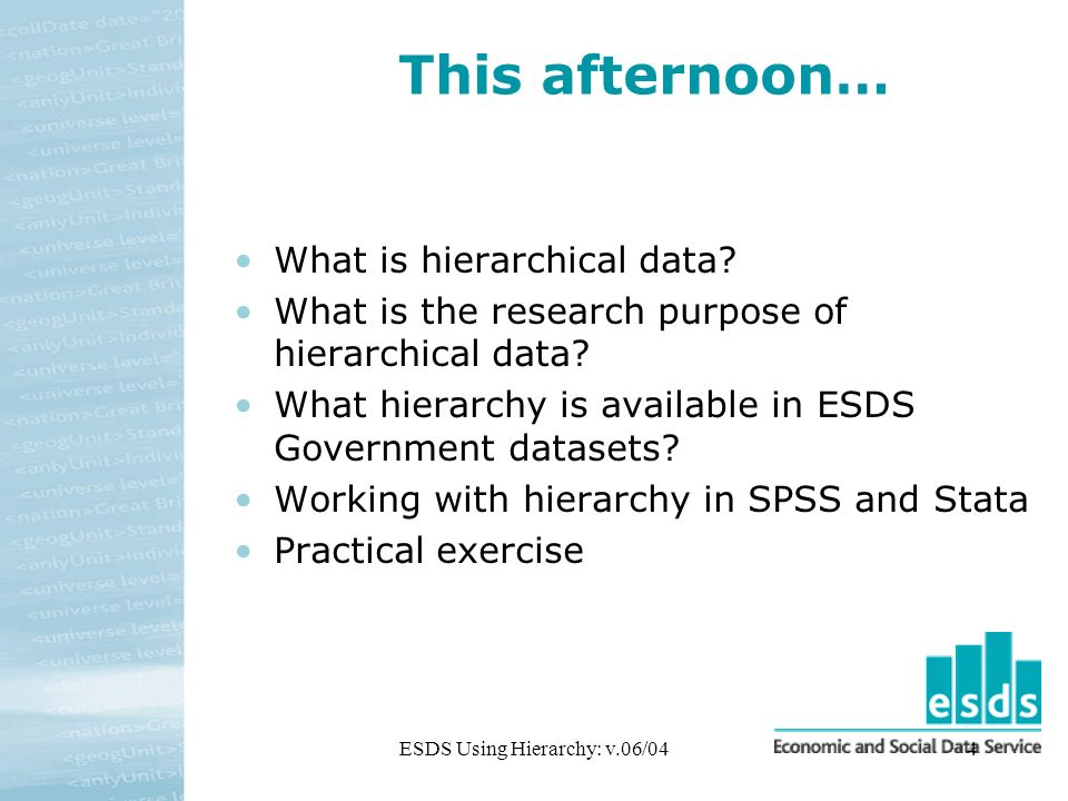 ESDS Using Hierarchy: v.06/044 This afternoon… What is hierarchical data.