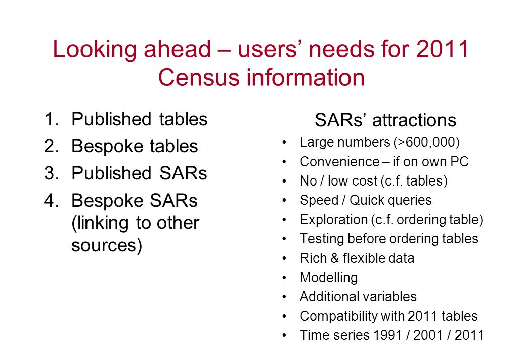 Looking ahead – users needs for 2011 Census information 1.Published tables 2.Bespoke tables 3.Published SARs 4.Bespoke SARs (linking to other sources) SARs attractions Large numbers (>600,000) Convenience – if on own PC No / low cost (c.f.