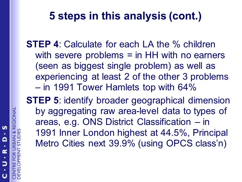 5 steps in this analysis (cont.) STEP 4: Calculate for each LA the % children with severe problems = in HH with no earners (seen as biggest single problem) as well as experiencing at least 2 of the other 3 problems – in 1991 Tower Hamlets top with 64% STEP 5: identify broader geographical dimension by aggregating raw area-level data to types of areas, e.g.