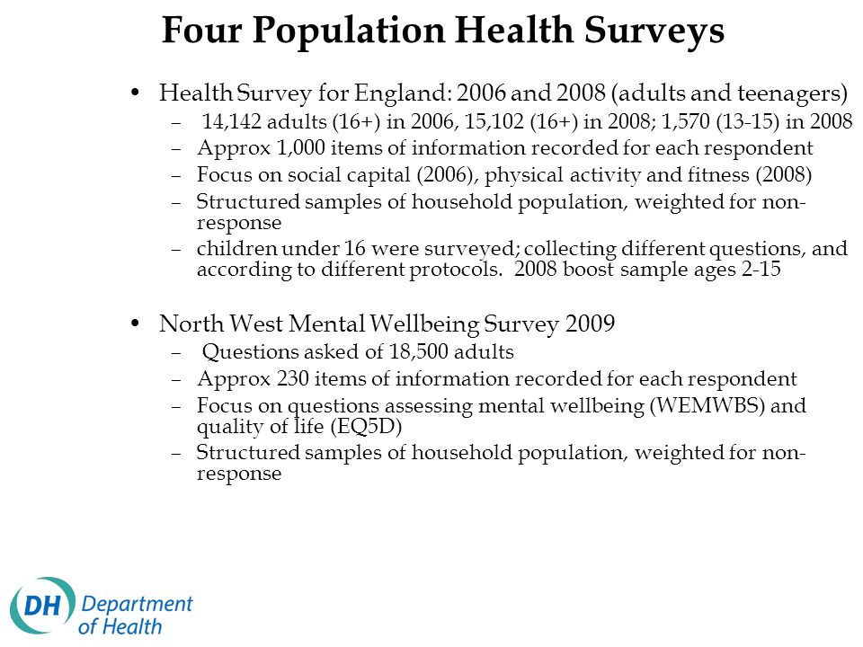 Four Population Health Surveys Health Survey for England: 2006 and 2008 (adults and teenagers) – 14,142 adults (16+) in 2006, 15,102 (16+) in 2008; 1,