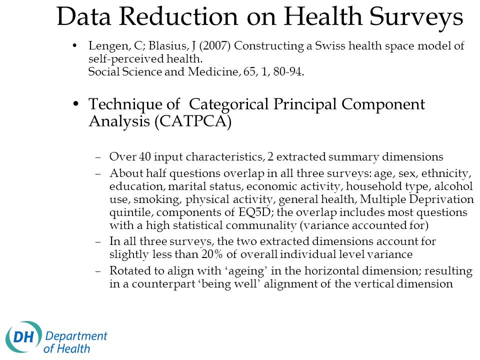 Data Reduction on Health Surveys Lengen, C; Blasius, J (2007) Constructing a Swiss health space model of self-perceived health. Social Science and Med