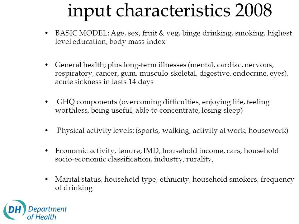 input characteristics 2008 BASIC MODEL: Age, sex, fruit & veg, binge drinking, smoking, highest level education, body mass index General health; plus