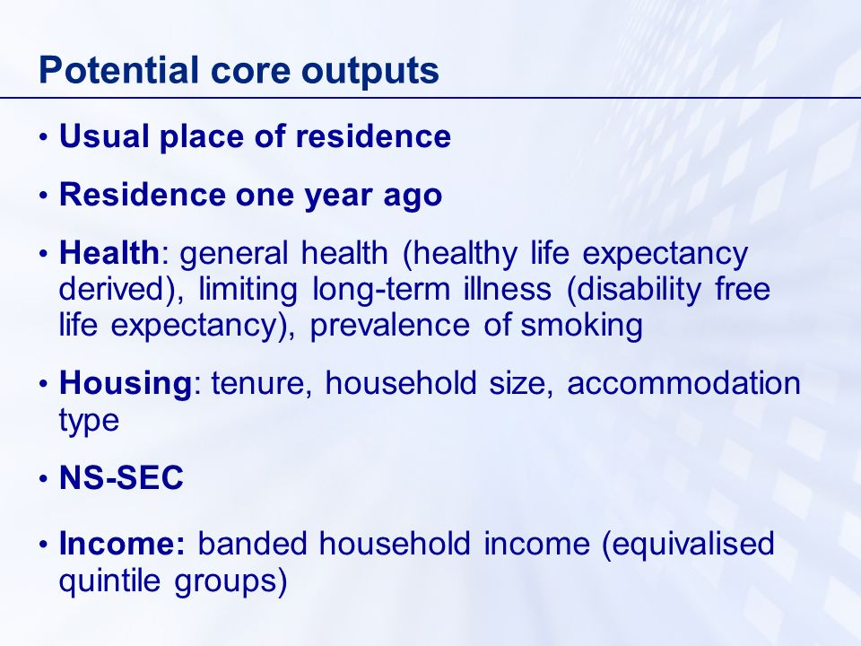 Potential core outputs Usual place of residence Residence one year ago Health: general health (healthy life expectancy derived), limiting long-term illness (disability free life expectancy), prevalence of smoking Housing: tenure, household size, accommodation type NS-SEC Income: banded household income (equivalised quintile groups)