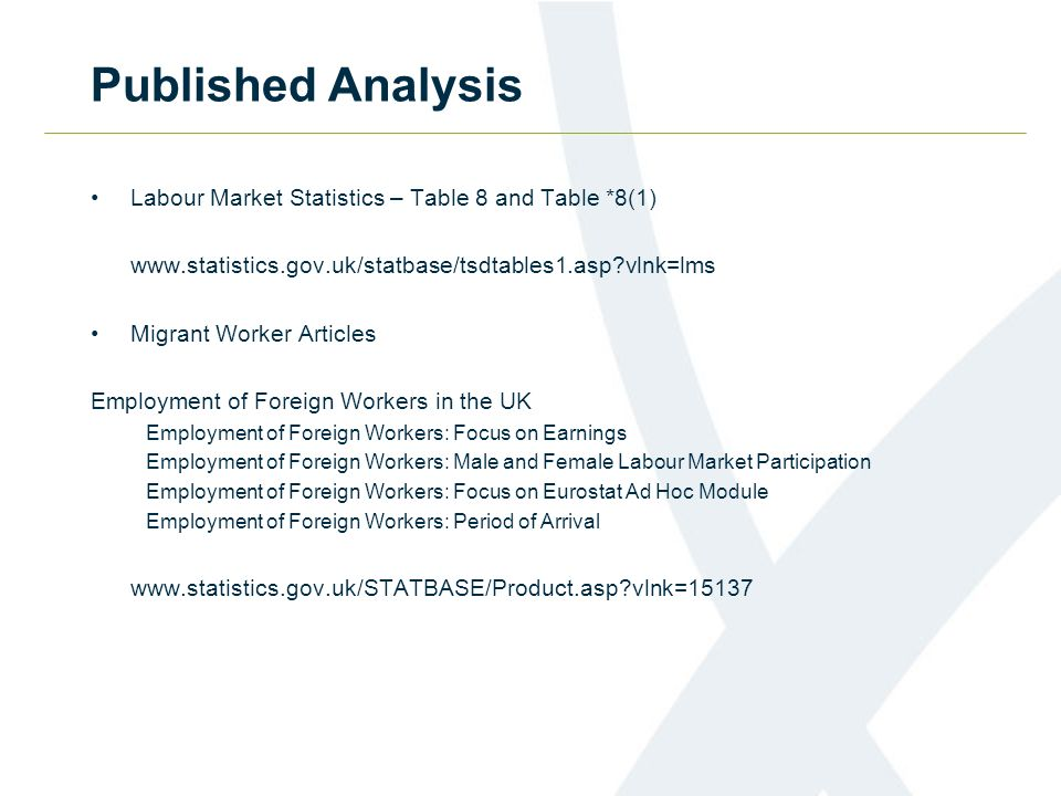 Published Analysis Labour Market Statistics – Table 8 and Table *8(1) www.statistics.gov.uk/statbase/tsdtables1.asp vlnk=lms Migrant Worker Articles Employment of Foreign Workers in the UK Employment of Foreign Workers: Focus on Earnings Employment of Foreign Workers: Male and Female Labour Market Participation Employment of Foreign Workers: Focus on Eurostat Ad Hoc Module Employment of Foreign Workers: Period of Arrival www.statistics.gov.uk/STATBASE/Product.asp vlnk=15137