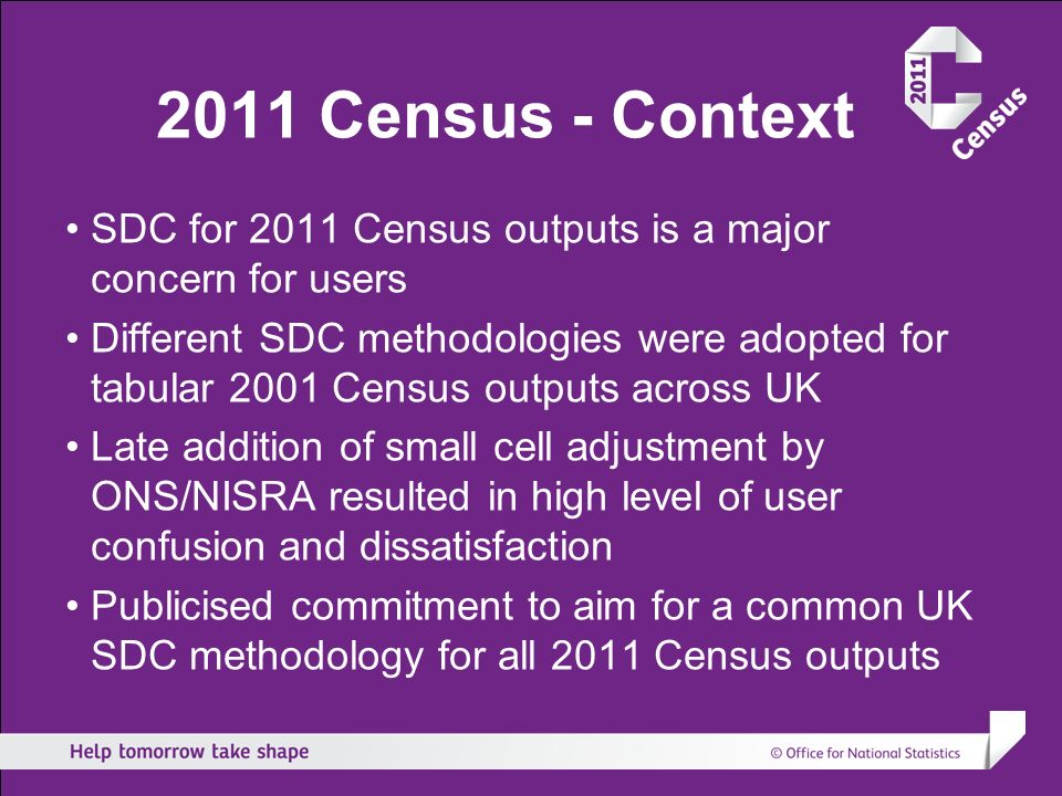 2011 Census - Context SDC for 2011 Census outputs is a major concern for users Different SDC methodologies were adopted for tabular 2001 Census output