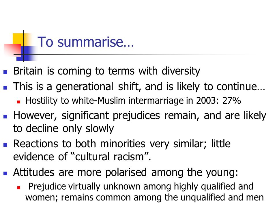 To summarise… Britain is coming to terms with diversity This is a generational shift, and is likely to continue… Hostility to white-Muslim intermarriage in 2003: 27% However, significant prejudices remain, and are likely to decline only slowly Reactions to both minorities very similar; little evidence of cultural racism.