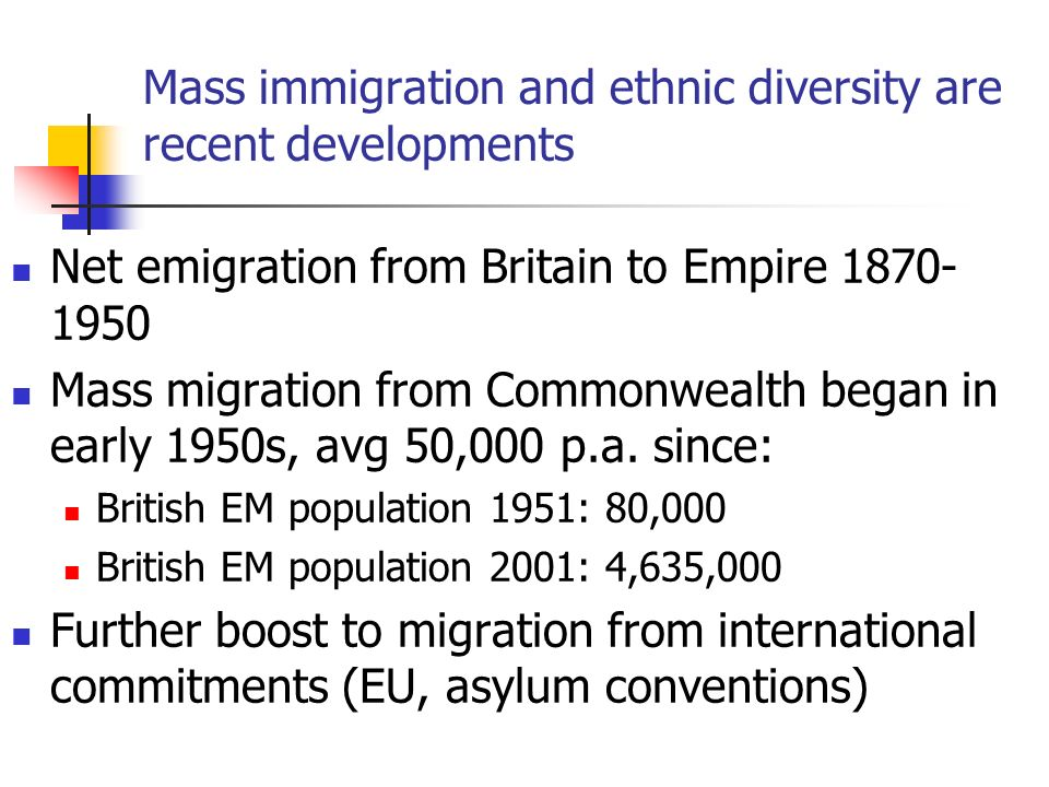 Mass immigration and ethnic diversity are recent developments Net emigration from Britain to Empire 1870- 1950 Mass migration from Commonwealth began in early 1950s, avg 50,000 p.a.
