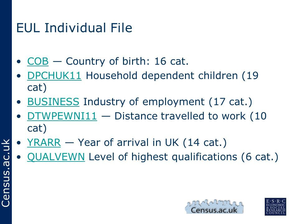 Census.ac.uk EUL Individual File COB Country of birth: 16 cat.COB DPCHUK11 Household dependent children (19 cat)DPCHUK11 BUSINESS Industry of employme